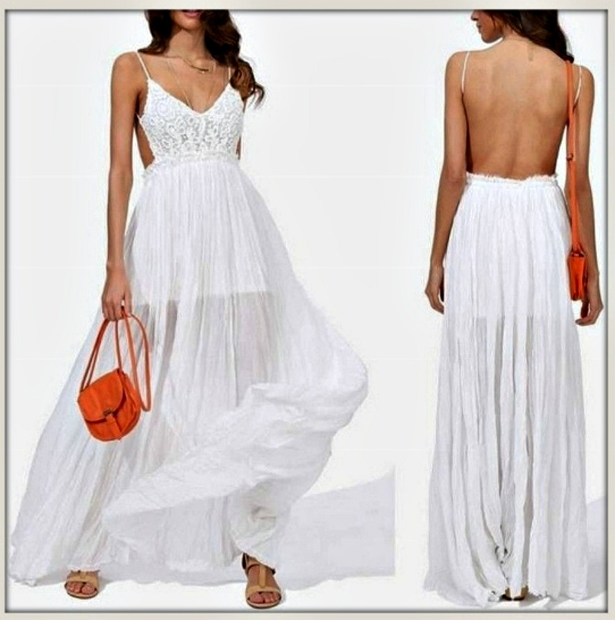THE KYLIE DRESS White Lace Long Baby Doll Open Back Sheer Dress