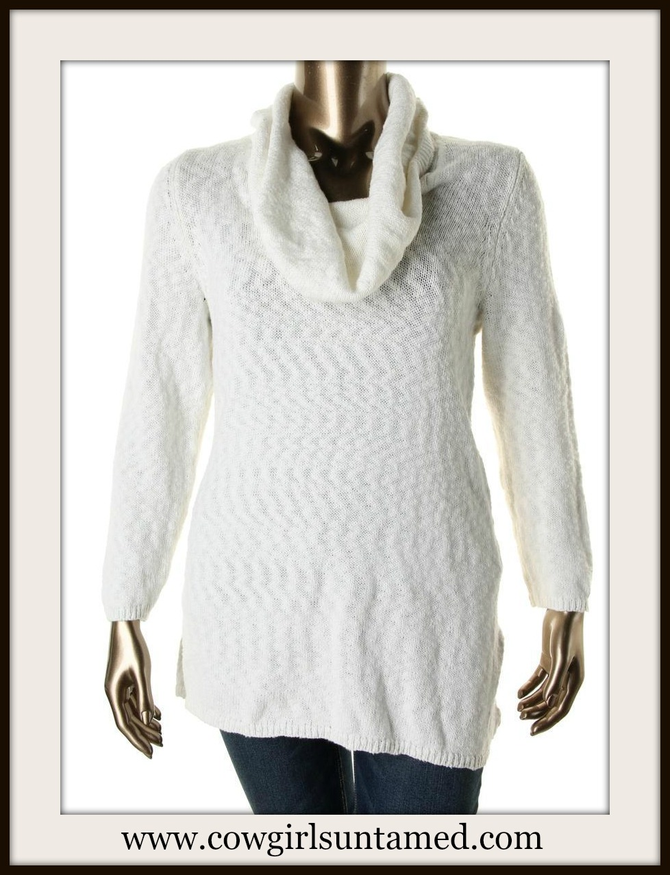 COWGIRL STYLE SWEATER White Marled Cowl Neck Designer PLUS SIZE Tunic Sweater