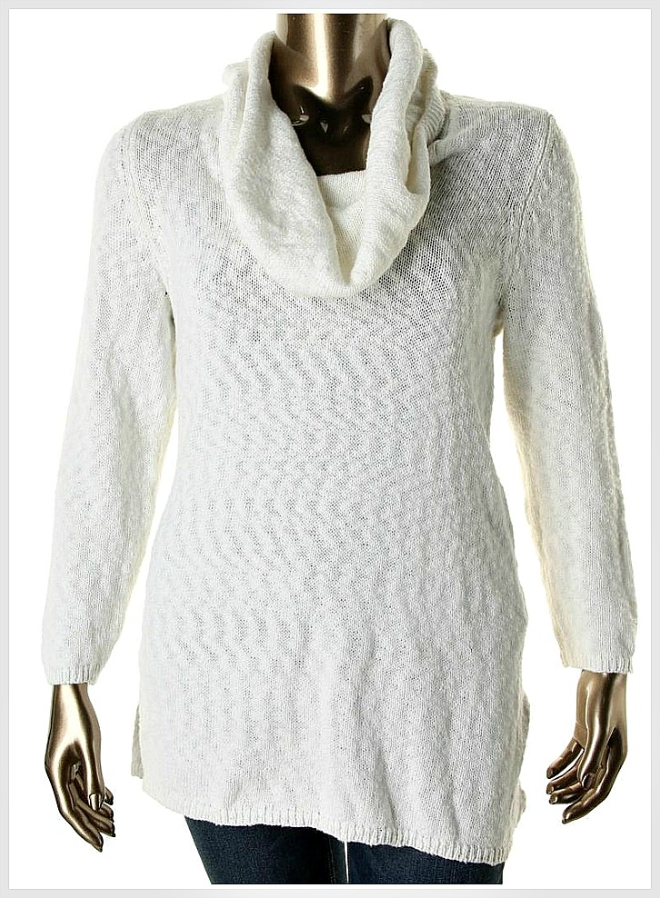 9c0fc2adfe3 White Marled Cowl Neck Designer PLUS SIZE Tunic Sweater, plus size ...