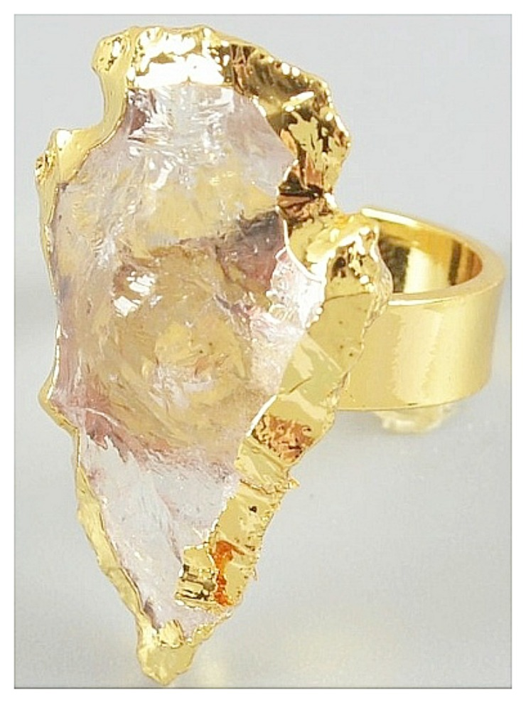 AMERICAN COWGIRL RING White Quartz Arrowhead Gold Plated Ring