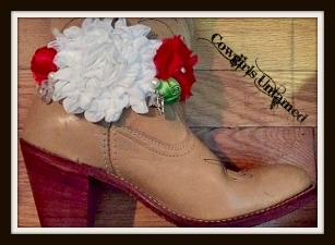 WILDFLOWER BOOT GARTER  Red White Green Silk Flowers with Pearl Rhinestone Crystal and Antique Silver Horse White Lace Boot Cuff