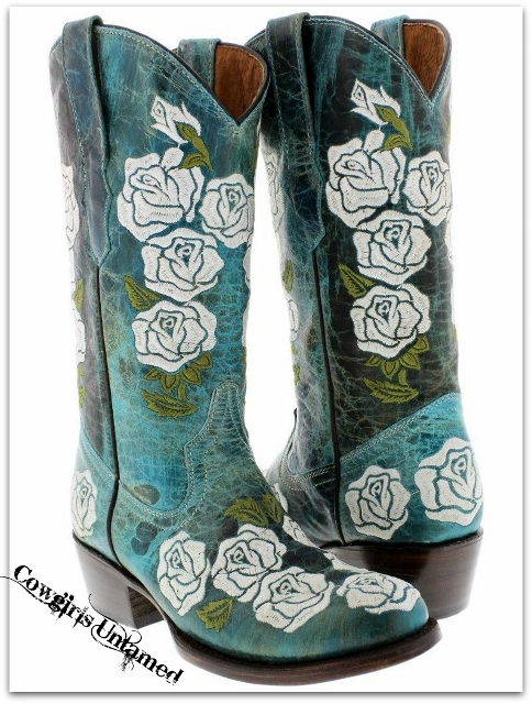 COWGIRL STYLE BOOTS Embroidered White Rose Round Toe GENUINE AQUA TURQUOISE LEATHER Western Cowgirl Boots