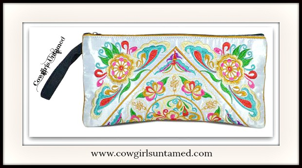 WILDFLOWER PURSE Multi Color Embroidery on White Pearl Silk Boho Clutch Purse