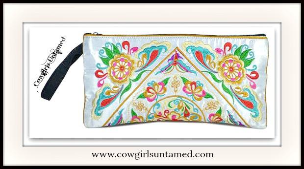 WILDFLOWER PURSE Multi Color Embroidery on White Pearl Silk Boho Clutch Purse