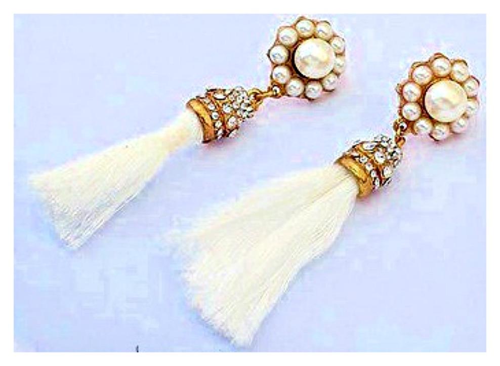 COWGIRL GYPSY EARRINGS White Silk Tassel Rhinestone & Pearl Antique Gold Earrings