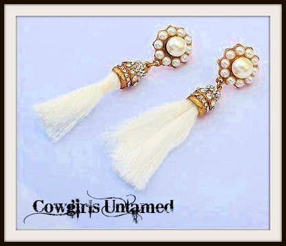 COWGIRL GYPSY EARRINGS White Silk Tassel Rhinestone & Pearl Antique Gold Earrings