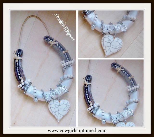 WESTERN COWGIRL DECOR Rustic Vintage Horseshoe with Rhinestones White Turquoise Heart Swarovski Crystals and Tan Genuine Suede Hanger