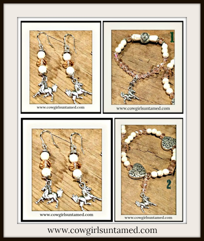 COWGIRL STYLE BRACELET SET Pink Crystal White Turquoise Silver Horse Charm Bracelets / Earrings  You Choose