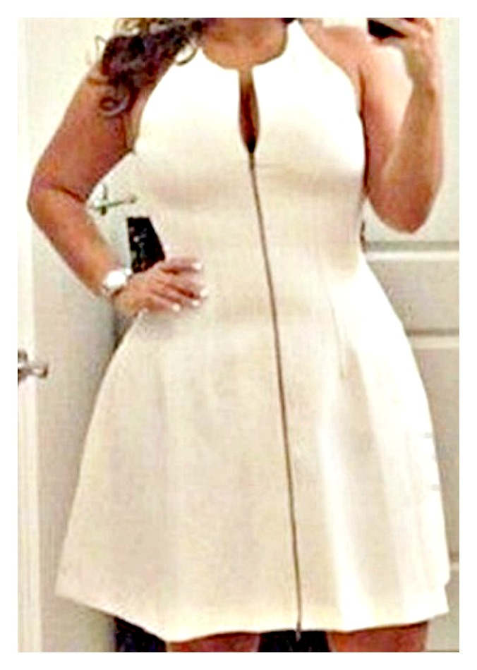 GOING GLAM DRESS Sleeveless Exposed Zipper Front White Stretchy A-line Dress PLUS SIZE