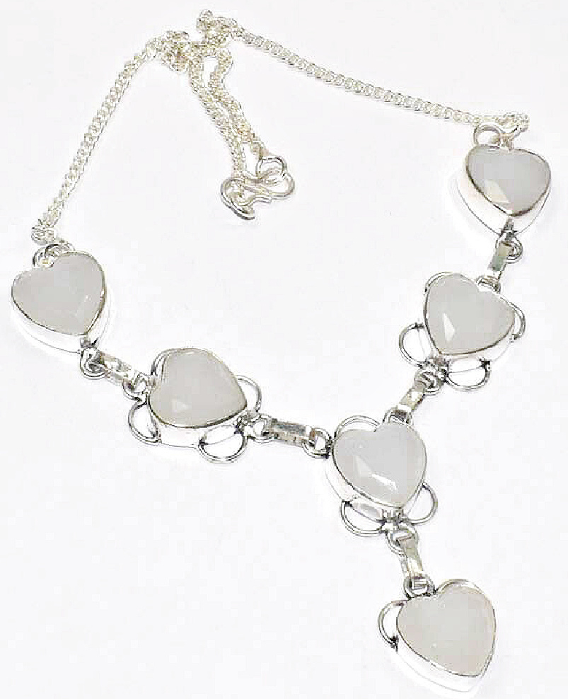 BE STILL MY HEART White Heart Chalcedony 925 Sterling Silver Jewelry Necklace