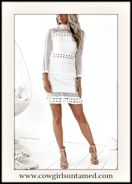 VINTAGE BOHEMIAN DRESS High Neck 3/4 Sleeve White Geometric Lace Vintage Mini Dress