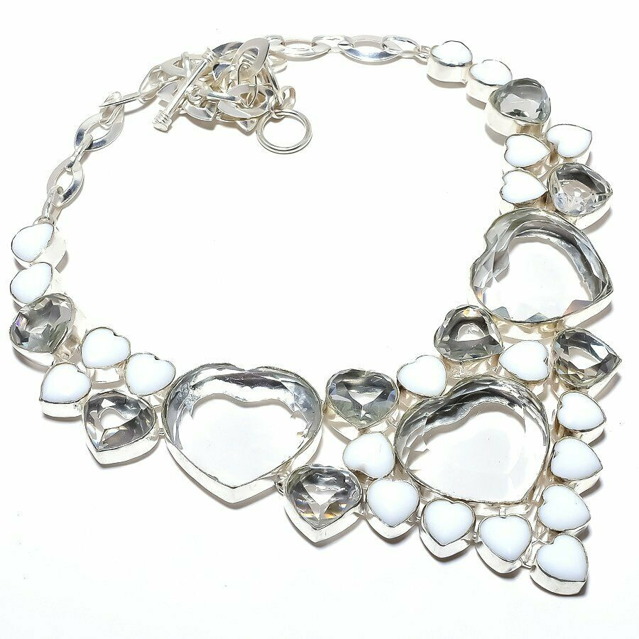 THE SWEETHEART NECKLACE White Topaz & White Coral Gemstone Heart 925 Sterling Silver Statement Necklace