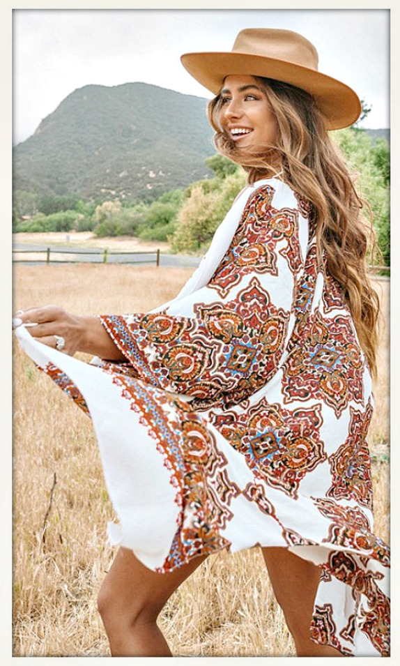 BOHEMIAN STYLE KIMONO Orange and Blues on White Long Boho Kimono MISSES & PLUS