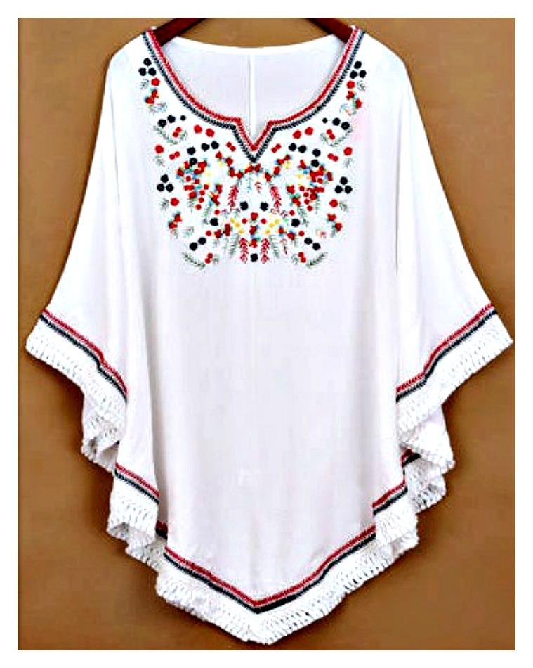 THE MARGOT TOP Multi Color Embroidered Front Fringe White Boho Top