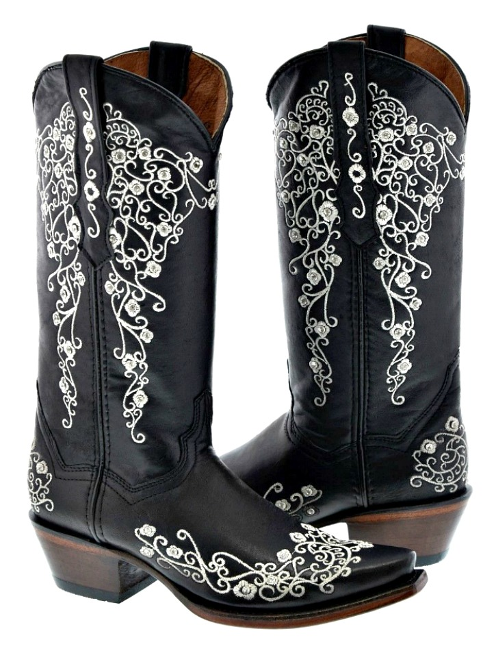 COWGIRL STYLE BOOTS Rhinestone Studded White Floral Embroidery Black GENUINE LEATHER Boots