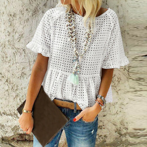 THE CHLOE TOP White Cotton Eyelet Short Sleeve Ruffle Hem Baby Doll Loose Fit Boho Blouse ONLY M/L Left