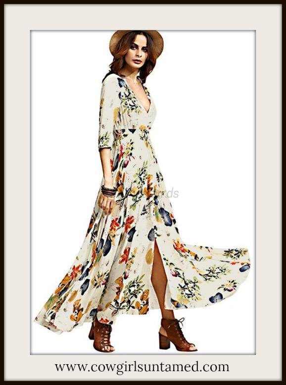 COWGIRL GYPSY DRESS Floral 3/4 Sleeve Beige Boho Maxi Dress