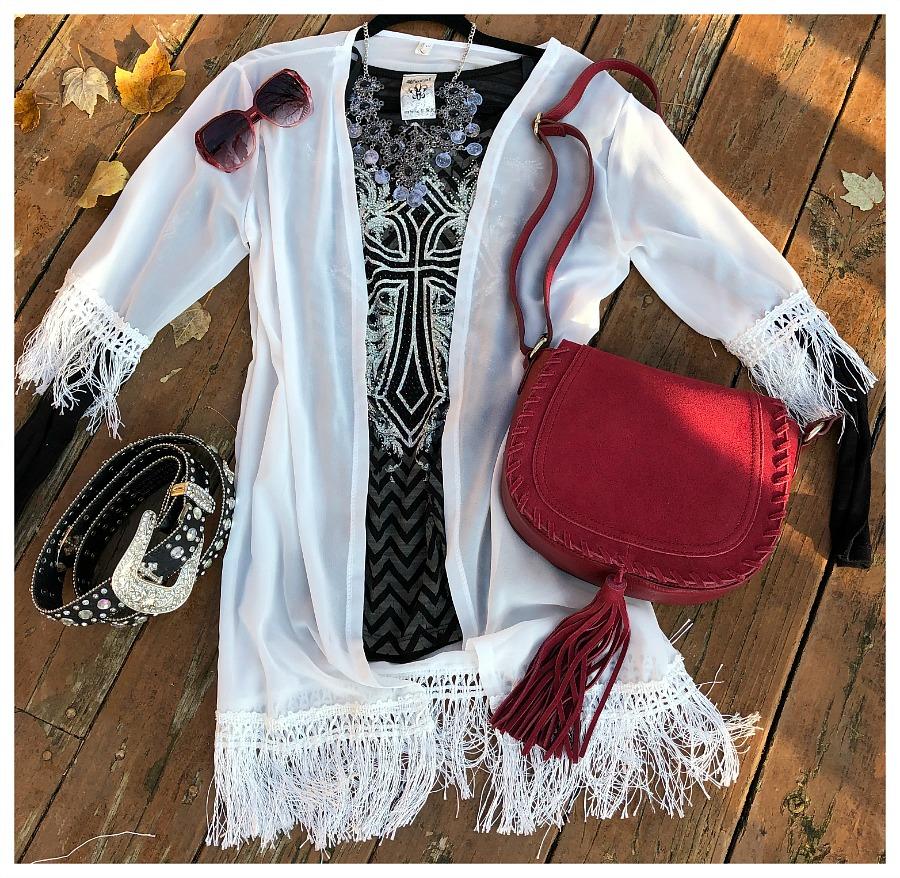 ON THE FRINGE KIMONO Sheer White Chiffon Fringe Open Boho Duster Kimono