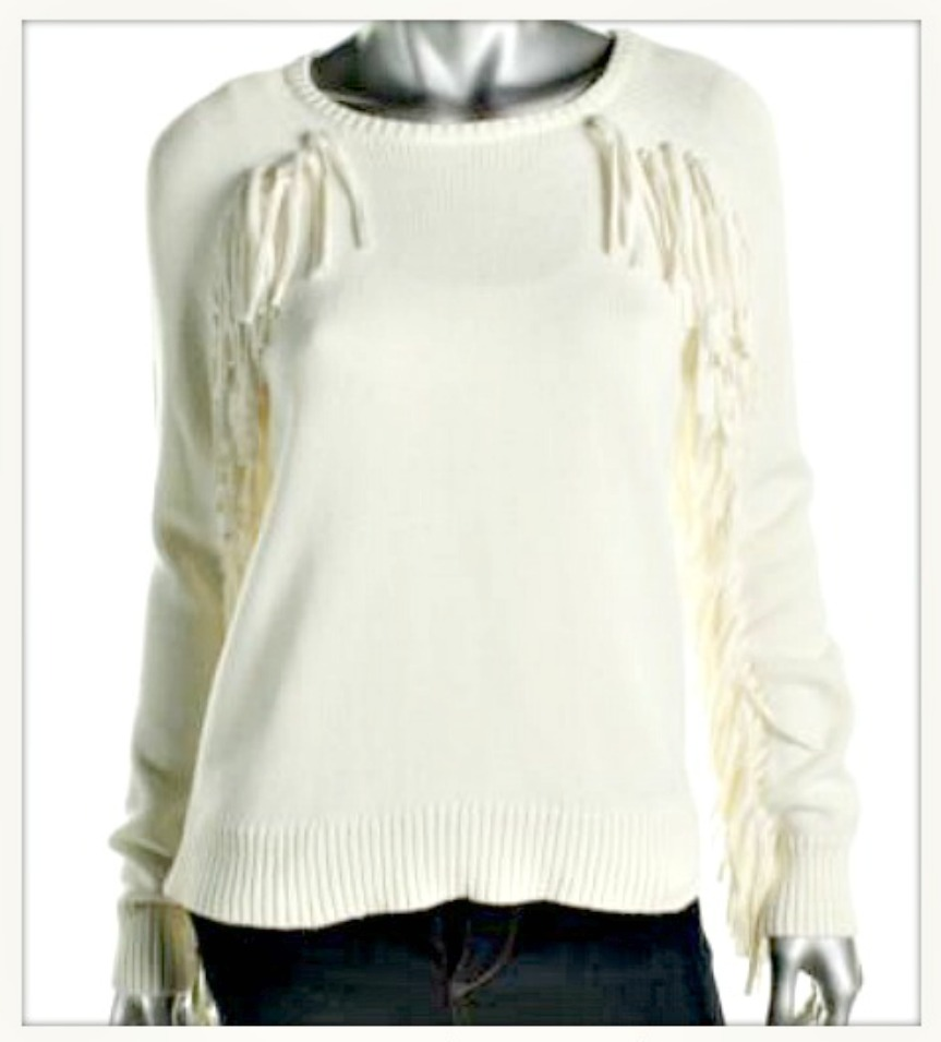 ON the FRINGE SWEATER Ivory Fringe Designer Sweater LAST ONE!!
