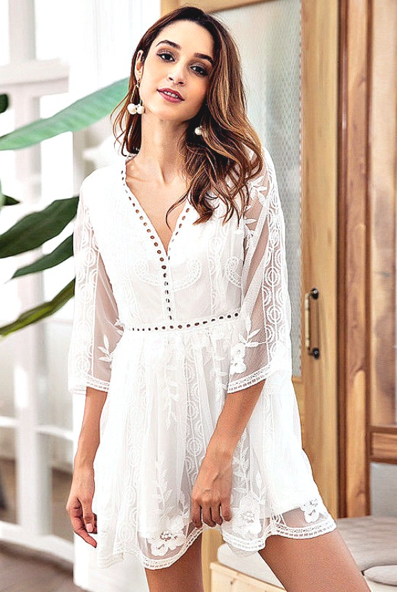 White Floral Lace Amp Embroidery Sheer 34 Sleeve V Neck Mini