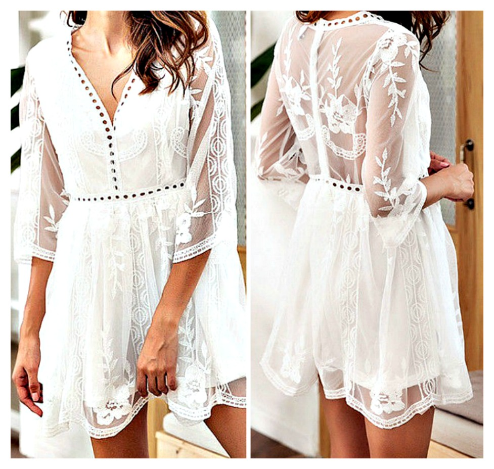THE EMMA DRESS White Floral Lace & Embroidery Sheer 3/4 Sleeve V Neck Mini Dress LAST ONE Large