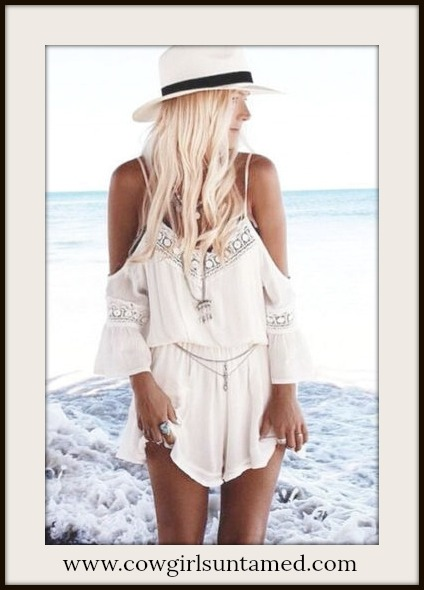 BOHO CHIC SHORTS White Lace Cold Shoulder Romper Shorts