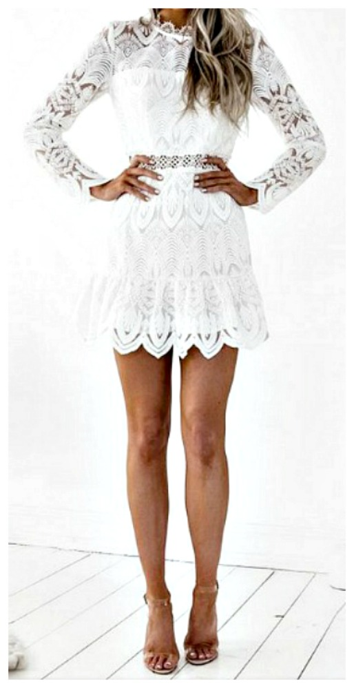 4b4d99ec5e4a Vintage High Neck Long Sleeve White Floral Lace Fitted Mini Dress ...