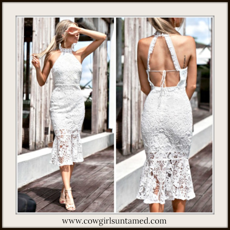 VINTAGE BOHEMIAN DRESS High Neck Sleeveless White Lace Open Back Romantic Midi Dress