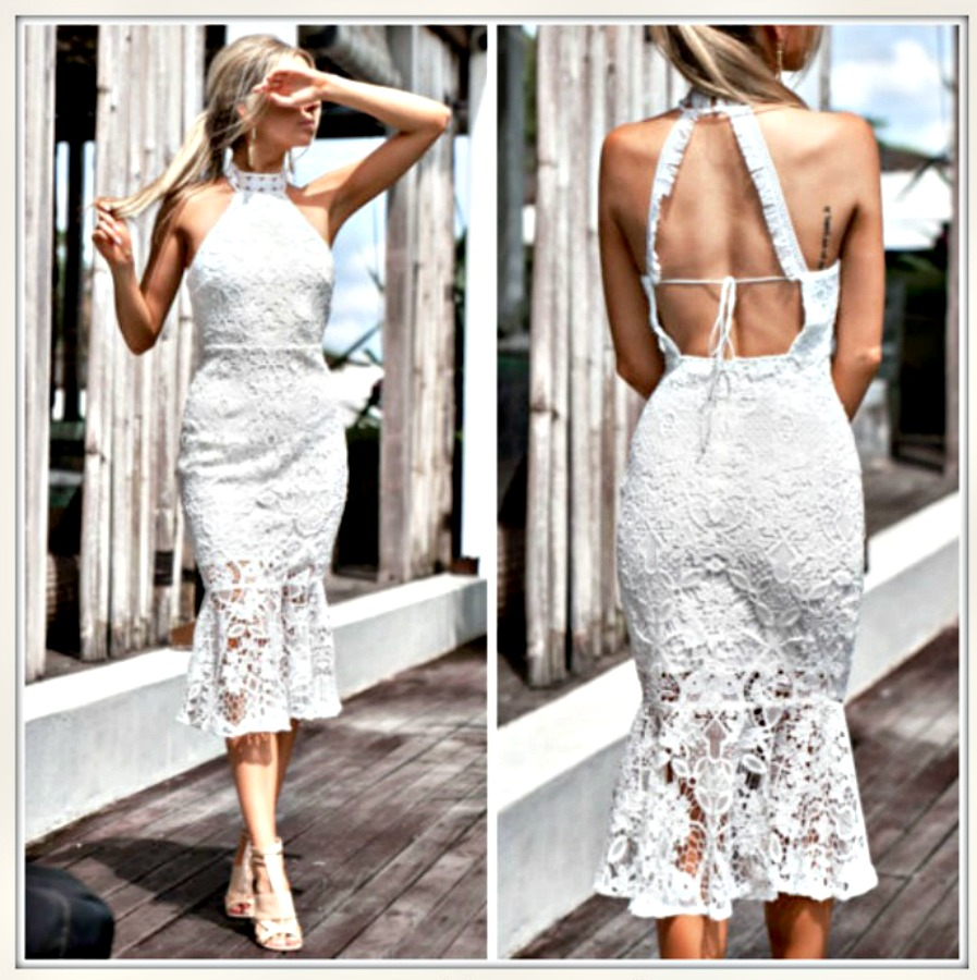 VINTAGE BOHEMIAN DRESS High Neck Sleeveless White Lace Open Back Romantic Midi Dress LAST ONE L/XL