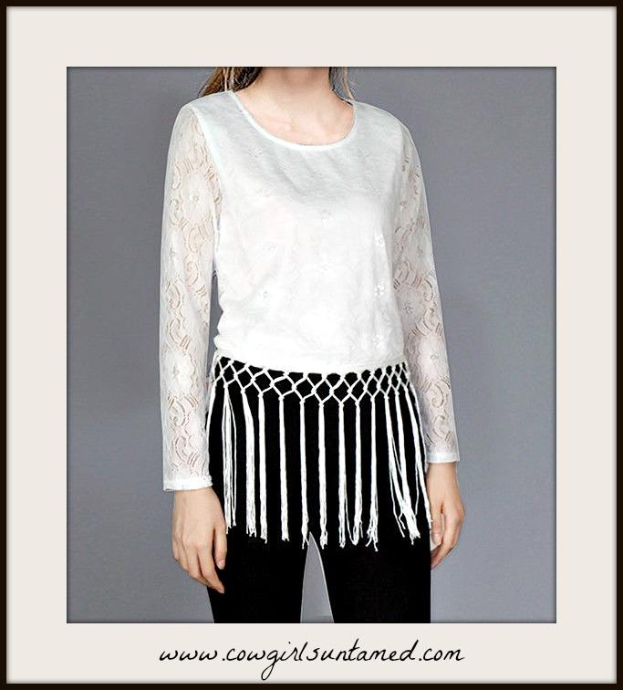 BOHEMIAN COWGIRL TOP White Tassel Fringe on Long Sleeve White Lace Blouse