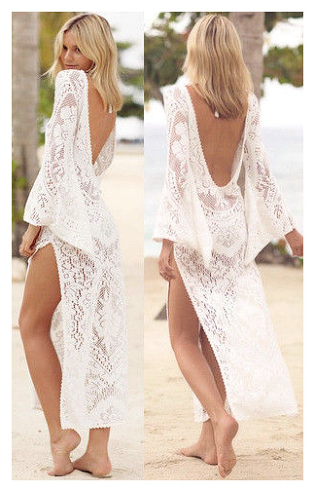 BOHEMIAN GYPSY COVER UP Open Back Long Bell Sleeve Side Slit White Lace Maxi Dress Cover Up