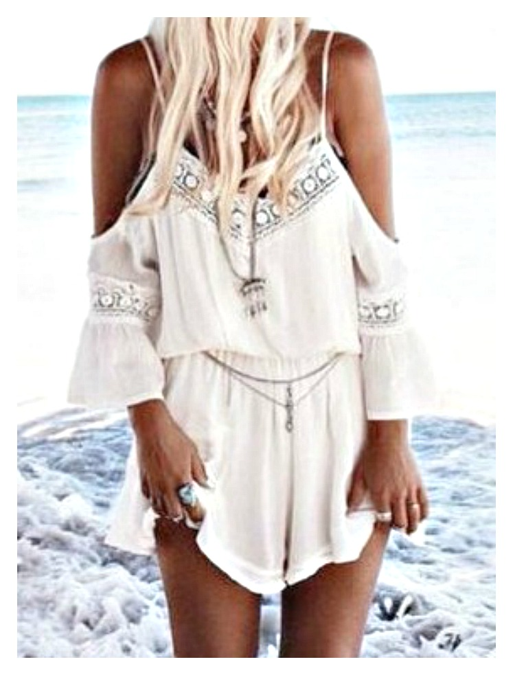 BOHO CHIC ROMPER White Lace Cold Shoulder Romper Shorts