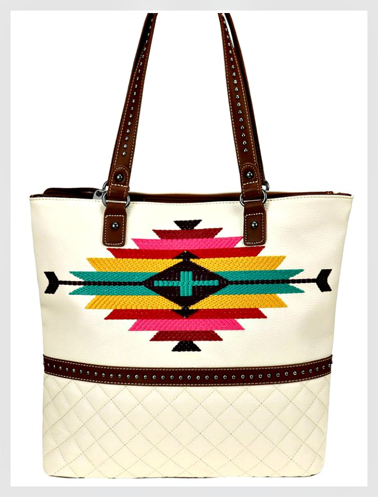 THE CLASSY COWGIRL TOTE White Leather Aztec Embroidery Studded Handle Tote ONLY 2 LEFT!