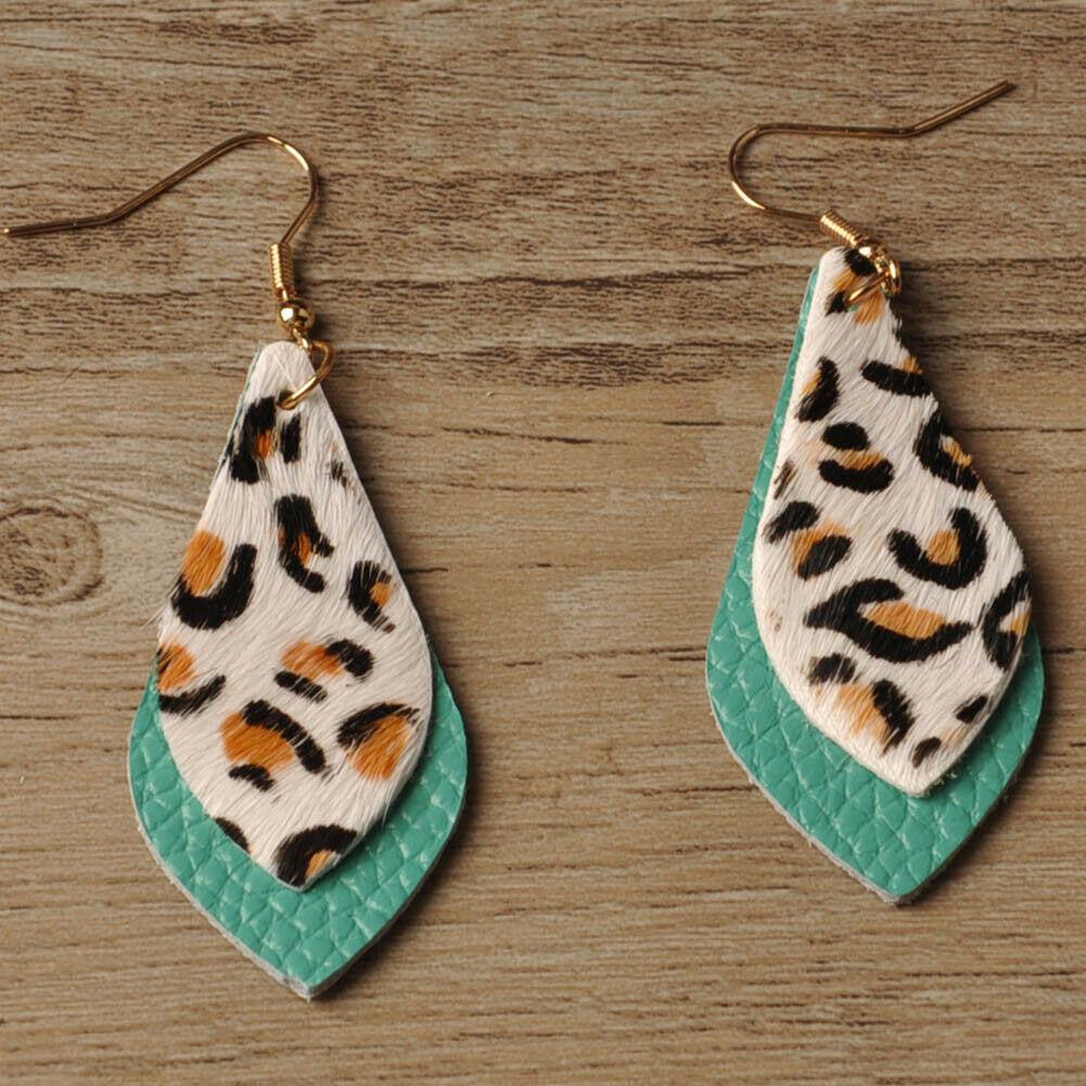 INTO THE WILD EARRINGS Mint Green & White Leopard Leather Dangle Fashion Earrings