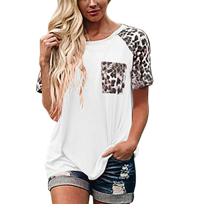 IN THE WILD TEE White Brown Leopard Short Sleeve Pocket Womens T-Shirt Top S-3X