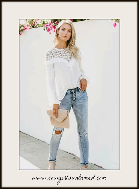 VINTAGE COWGIRL TOP Lace N' Ruffle Long Sleeve White Blouse