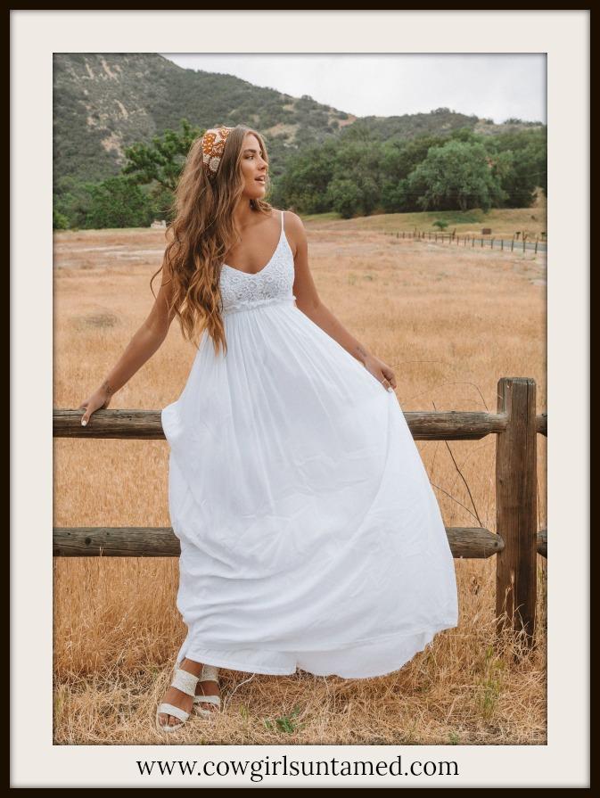 BOHEMIAN COWGIRL DRESS White Lace Crochet Bodice Sleeveless Open Back Maxi Dress
