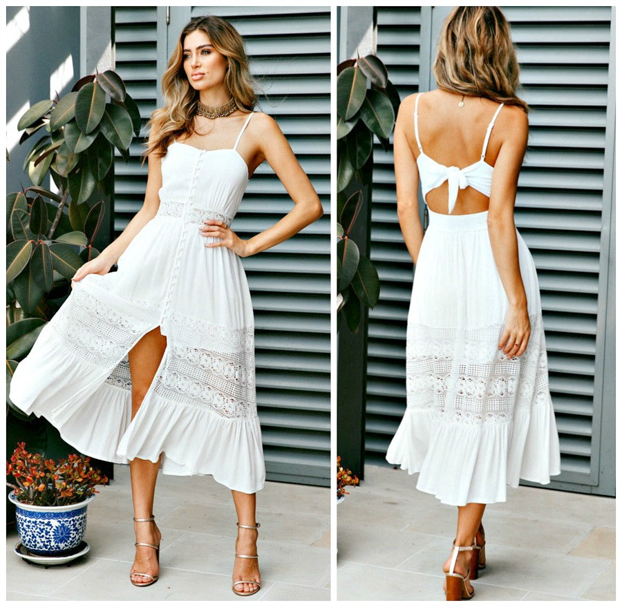 SWEET SECRET DRESS White Lace Open Back Sleeveless Boho Midi Dress