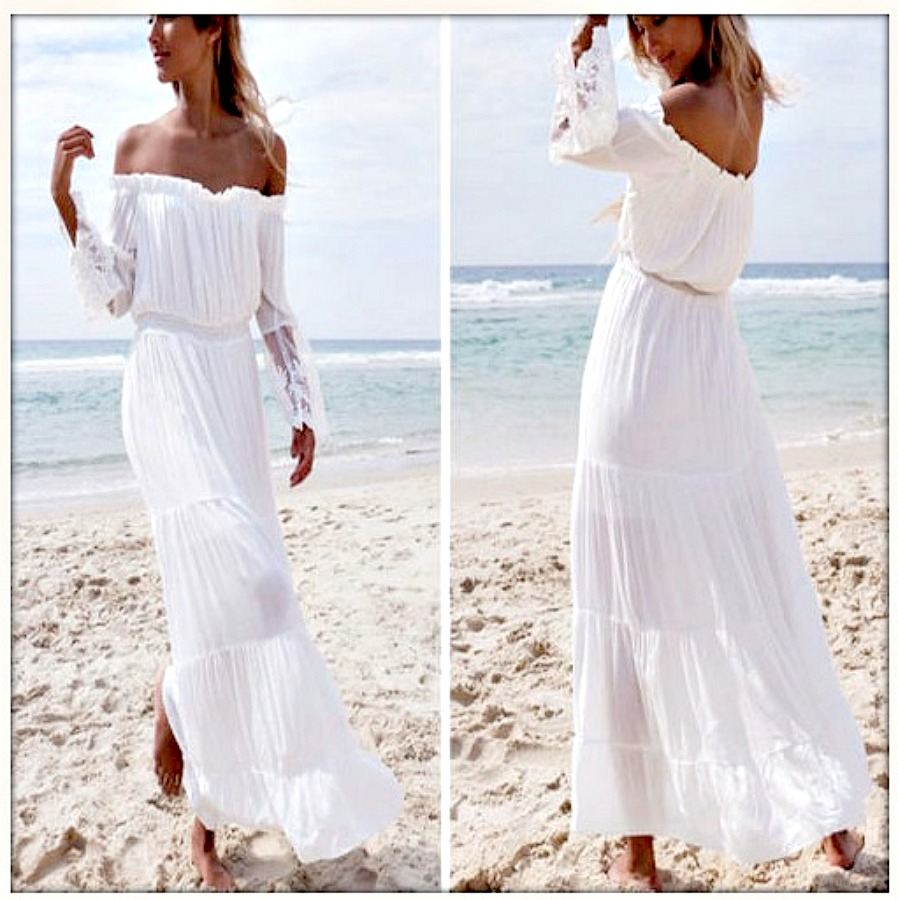 BOHEMIAN COWGIRL DRESS Off the Shoulder Lace Sleeve White Chiffon Maxi Dress L/XL