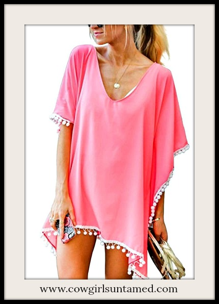 BOHEMIAN COWGIRL COVER UP White Pom Pom Fringe Trim Hot Pink Chiffon Cover Up