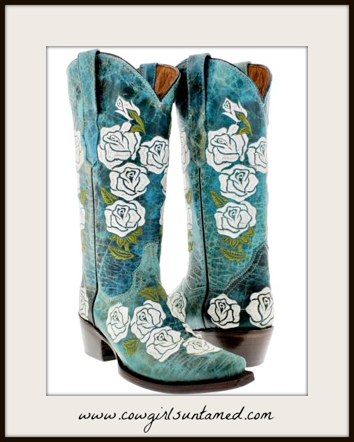 COWGIRL GYPSY BOOTS Embroidered White Rose Round Toe GENUINE TURQUOISE LEATHER Boots