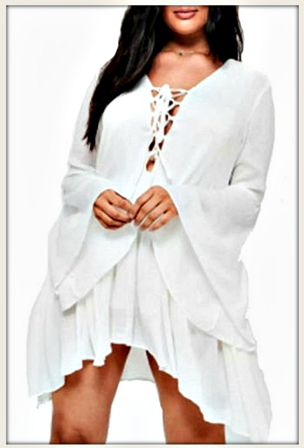 White Lace Up Neckline Bell Sleeve Ruffle Trim Mini Dress, dress, lace up,  mini dress, white, ruffle, bell sleeve, plus size, beautiful, bohemian, ...
