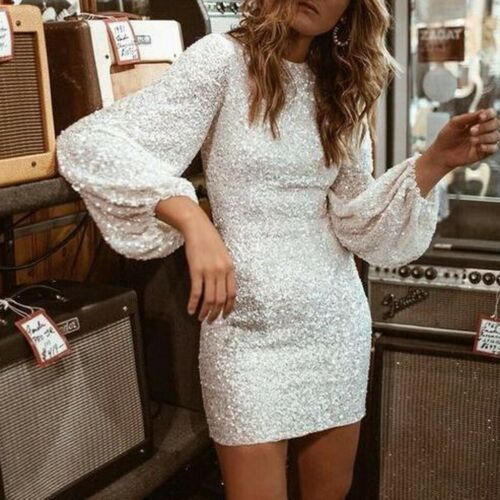 THE NOELLE DRESS White Sequin Long Bishop Sleeve Fitted Short Boho Dress