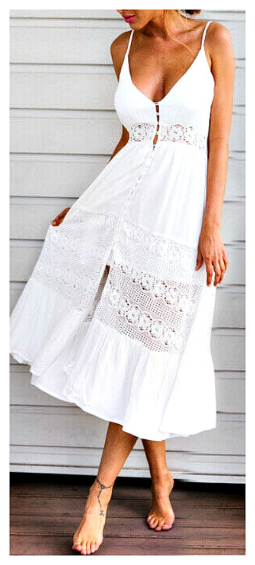 THE ELLIE DRESS White Floral Lace Insert Sleeveless Smocked Back White Boho Dress LAST ONE S