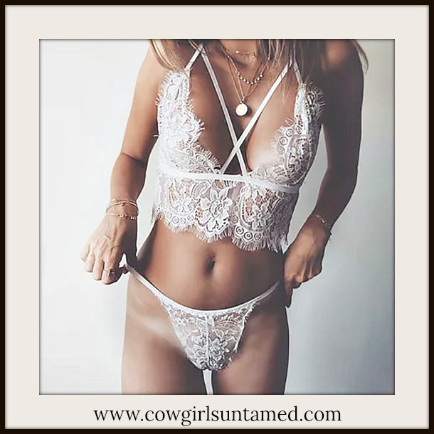 COWGIRL GLAM LINGERIE White Lace Wireless Bra and Panty Set