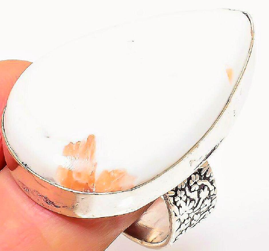 BOHO HEALING RING Scolecite Gemstone 925 Sterling Silver Large Teardrop Floral Ring Size 8