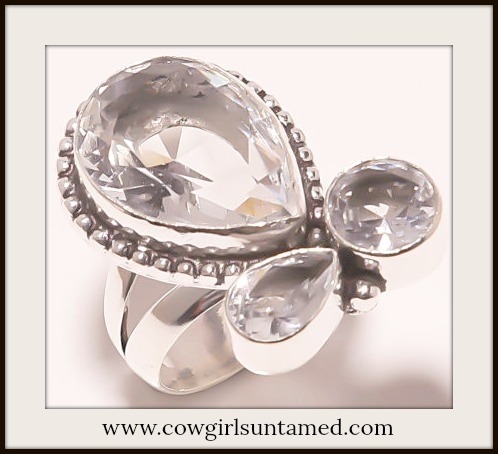 COWGIRL GYPSY RING Triple White Topaz Gemstone 925 Sterling Silver Boho Ring