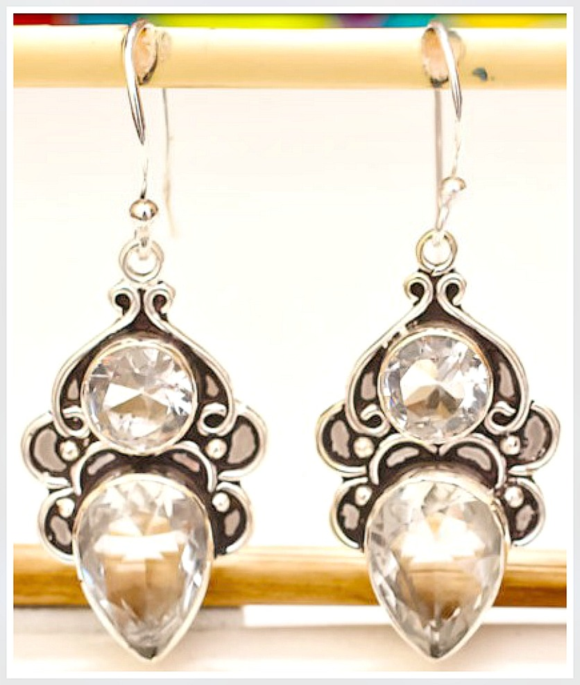 COWGIRL GYPSY EARRINGS Vintage Style Topaz 925 Sterling Silver Earrings