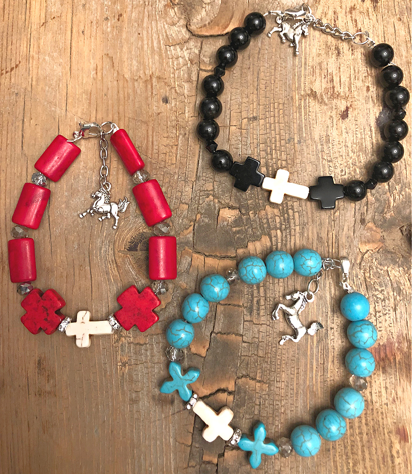BLESS THE COWGIRL BRACELET Handmade White Turquoise Cross Silver Horse Charm Western Beaded Bracelet 3 COLORS