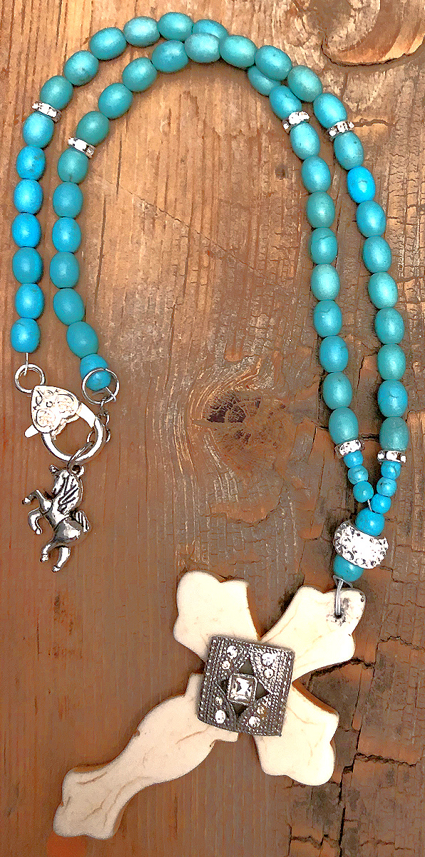 AMAZING GRACE NECKLACE Handmade White Turquoise Rhinestone Cross Pendant Beaded Silver Necklace